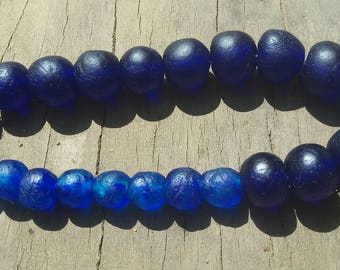 """African recycled glass beads, mixed lots, 12"""" string, assorted sizes of round glass beads, cobalt blue"""