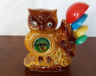 Vintage Colorado souvenir owl measuring spoon holder