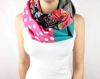 Floral and colorfull infinity scarf, pink polka dots, turquoise, gray with stripes,  infinity scarf, 100% cotton Women scarf colorfull, aprt