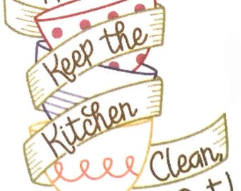 """Kitchen towel. """"Keep the kitchen clean, eat out""""  Hand embroidered dish towel"""