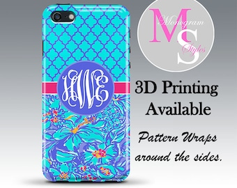 Monogram iPhone Case Personalized Phone Case Lilly Pulitzer Inspired Monogrammed Iphone 4, 4S, iPhone 5, 5S, 5C, 5SE iPhone 6, 7 Plus #2782