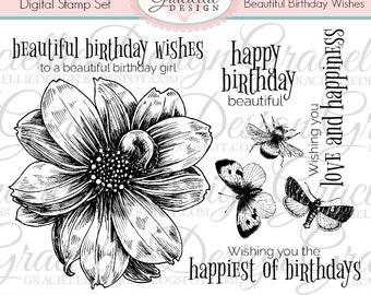 Beautiful Birthday Wishes - Digital Stamp Set