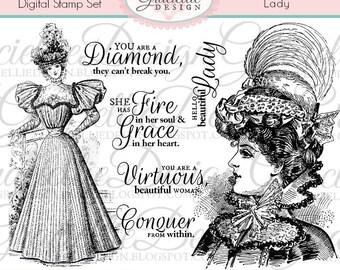 Lady - Digital Stamp Set