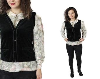 Black Velvet vest, Womes velvet vest, Vintage velvet vest, Womens vest, Black vest, Velvet waistcoat, Romantic vest, Black / Small Medium
