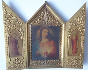 French Religious Icon Triptych Jesus Sacred Heart