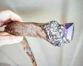 Reserved For Sue - Crystalised Walking Stick, Australian Crystals, Amethyst, Smoky Quartz, Natural Walking Stick, Handcrafted, Magical, Love