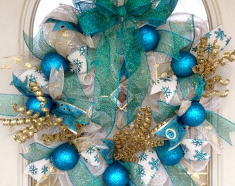 Christmas deco mesh wreath Turquoise blue, gold, cream with blue glittered ornaments