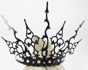Black Tiara - Gothic Crown - Black Crown - Gothic Tiara - Evil Queen Crown - Elven Crown - Evil Tiara - Steampunk Crown - Fairy Crown