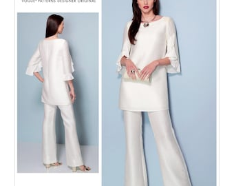 Vogue Pattern V1538 Misses' Ruffle-Sleeve Tunic and Bootcut Jumpsuit