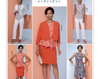 Butterick Pattern B6463 Misses' Dolman-Sleeve Jacket, Attached-Sash Top and Dress, Pencil Skirt, and Pants