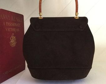 Suede Purse,Top 50's Handle Purse ,Suede Handbag