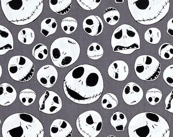 Nightmare Before Christmas Jack Faces in Iron - Camelot Fabrics - Cotton fabric - Choose your cut