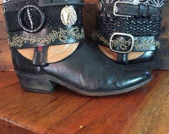 Laredo upcycled Black western cowboy boots women's size 11