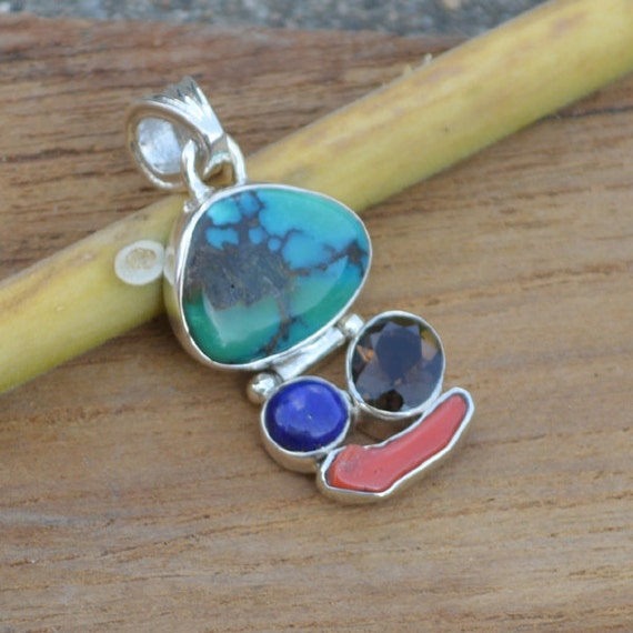 Natural Tibetan Turquoise Pendant, Lapis Pendant,  Coral Set In Sterling Silver Jewelry,  Designer Silver Pendant, Smokey Pandant