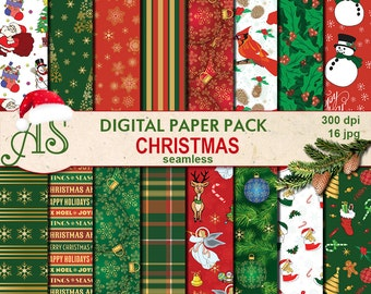 Digital Retro Christmas Seamless Paper Pack, 16 printable Digital Scrapbooking papers, red green new year collage, Instant Download, set 92
