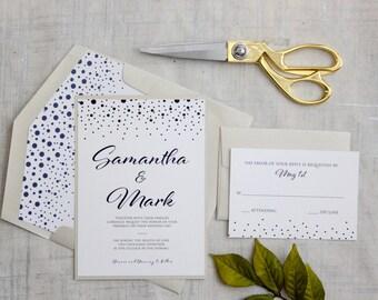 Gold and Navy Wedding Invitations,  Wedding Invitations, Fun Wedding Invitations, DEPOSIT to begin your order