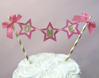 Twinkle Twinkle Little Star First Birthday Little Star Cake Topper Pink Gold Star Party Star Cake Topper Star Cake Bunting Star Cake Smash