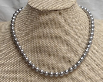 Gray pearl necklace,8mm pearl necklace,necklace,wedding necklace,bridesmaid  necklace, Glass pearl jewelry,wedding gift, Pearl Necklace,