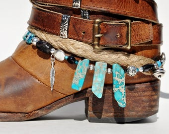 Aqua Agate Stone Beaded Boot Bracelet