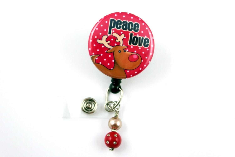christmas reindeer peace love retractable id badge holder name