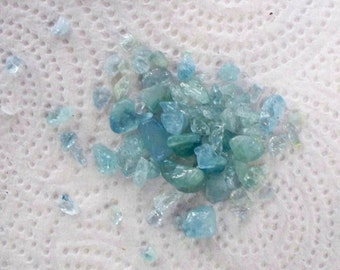 Bag of Undrilled Aquamarine Chips - About 1 lb
