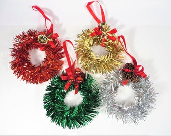 Set of 4 Vintage Tinsel Wreaths - Four Tinsel Wreath Ornaments