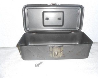"Vintage Gray Metal Box from 1980s - 11"" x 4.5"" x 3.5"" - Display Box for Man Cave Items"