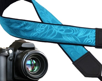 Blue green camera strap with texture. Padded camera strap for DSLR and SLR cameras. Fashion accessories by InTePro.