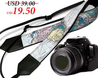 World Map Camera Strap. DSLR and SLR Padded Camera Strap. Camera accessories. Great gift by InTePro