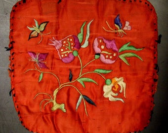 Vintage Chinese hand embroidery, floral, many uses. 7x7 inches (CH 2)