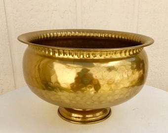 Vintage Hammered Brass Pedestal Bowl, Vintage Brass Punch Bowl Planter Wine Cooler