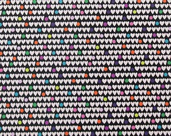 """Heart to Heart on black Cotton Woven - 1/4"""" Hearts, Alexander Henry"""