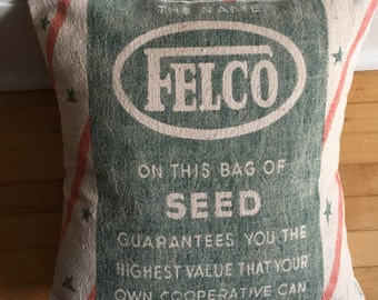 FELCO Vintage Upcycled 14 x 14 Feed Sack Pillow Cover