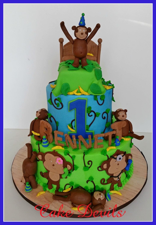 Monkey Fondant Cake Topper Monkeys Jumping On The Bed