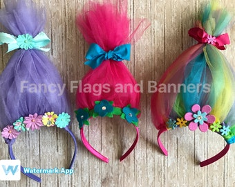 Troll headband hair accessory dress up accessory party favor Rainbow headband rainbow hair rainbow party