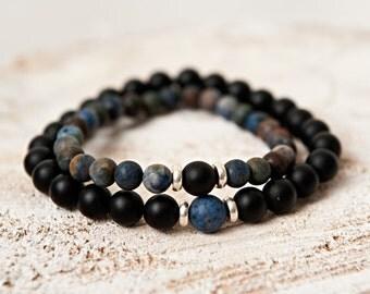 Sunset Dumortierite onyx couples distance bracelets reiki charged jewelry chakra balancing yoga jewelry