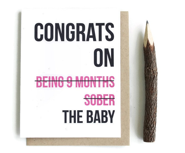 funny new baby card baby shower card new mom greeting card