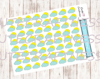 Shiny weather stickers perfect for in your planner