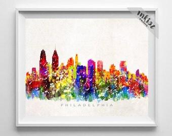 Philadelphia Skyline, Print, Watercolor Painting, Pennsylvania Print, Cityscape, City Poster, Wall Art, Home Decor, 4th of July