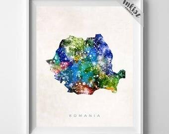Romania Map Print, Bucharest Print, Romania Poster, Romanian Map, Map Art, State Art, Giclee Art, Map, Travel Poster, Dorm Decor