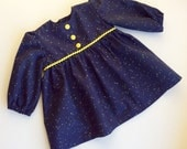 Reserved for Lois, Baby girl dress, baby clothes, baby's dress, 3-9 months, navy baby dress, I love you baby dress, baby shower gift