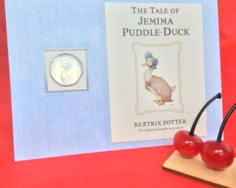 Peter Rabbit Beatrix Potter Jemima Puddleduck 50p coin personalised new baby christening children card