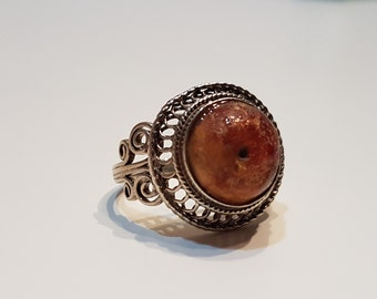 Old Amber Ring from Uzbekistan, Uzbek silver ring, Amber ring, Central Asia jewelry