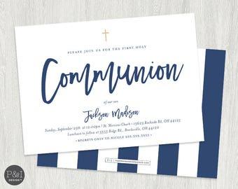 First Communion Invitation | Boy or Girl Communion Invitations | DIY | Printable