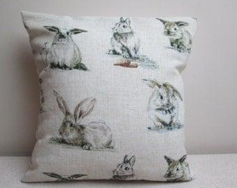 "Vintage Bunnies Linen Blend Cushion Cover Pillow Cover 16"""