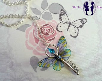 Yellow, Blue and Purple Fairy Wing Dream Key Necklace