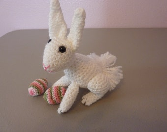 """Little White Easter Bunny with Easter Eggs - Bunny 5"""" tall"""