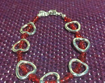 SALE Red glass beads and silver hearts. 6.5 inch
