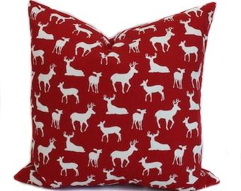 Holiday pillow cover, 16x16, 18x18, 20x20, Christmas pillow, Reindeer pillow, Decorative pillows, Throw pillow covers, Holiday decor