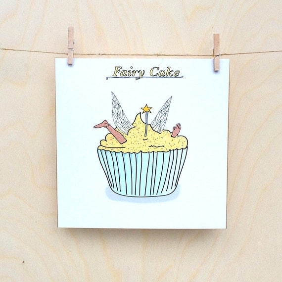 Funny fairy cake Card, Funny card, funny greetings card, funny Celebration card, funny birthday card.